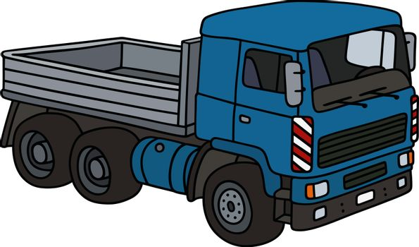 The vectorized hand drawing of a blue truck