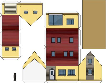 The paper model of a beige house