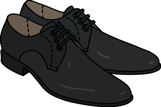 The vector illustration of a black mens shoes