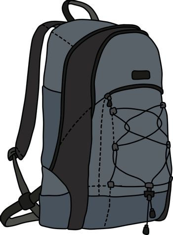 The vectorized hand darwing of a gray and black travel backpack