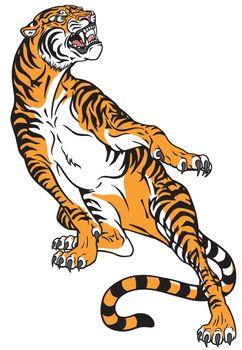 aggressive tiger . Tattoo style vector illustration