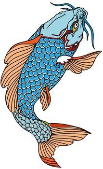 blue koi carp fish swimming up. Tattoo. Isolated vector illustration