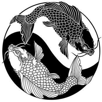 two koi carp fishes in the circle of yin yang symbol. Tattoo. Black and white vector illustration.