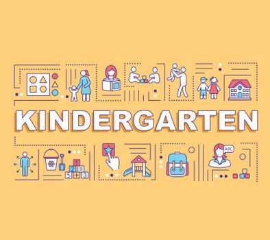 Kindergarten word concepts banner. Children preschool education. Elementary learning. Infographics with linear icons on yellow background. Isolated typography. Vector outline RGB color illustration
