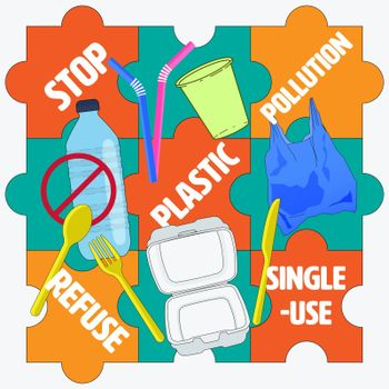 Single-use plastic products on jigsaw puzzle background represent refusing together would significantly stop pollution. Vector illustration.