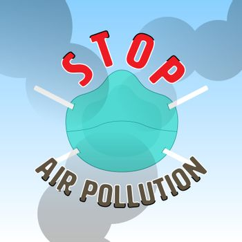 Stop air pollution sign with air mask and smog as a gimmick. Vector illustration.