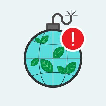 Time bomb concept. Environmental risk metaphor. Raise public awareness of environmental problems. Environmental alert symbol. Vector illustration flat design style.