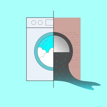 By washing synthetic fabric, millions of microfibers are released into the water. Microfiber pollution from our washing machine concept. Vector illustration.