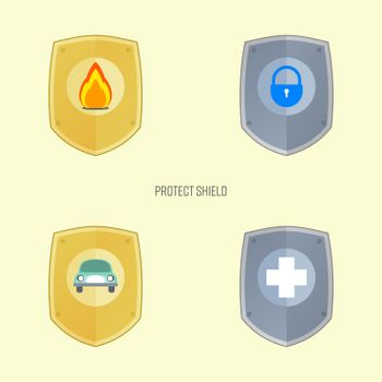 Protect shield symbols set. Property and health protection. Security and insurance metaphor. Vector illustration outline flat design style.