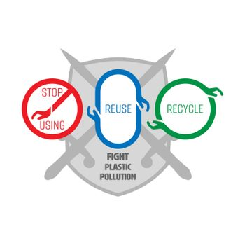 Stop using,reuse and recycle symbols. 3 ways to fight plastic pollution. Vector illustration outline flat design style.