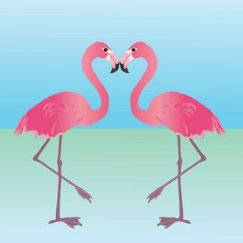 An illustration of two pink flamingos. They are holding one leg up and mirror each other