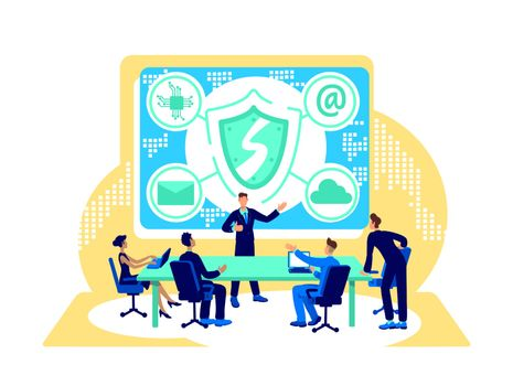 Cyber security flat concept vector illustration. Private data protection. Firewall for online safety. IT agency team 2D cartoon characters for web design. Digital transformation creative idea