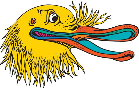 Graffitti style illustration of an angry and aggressive kiwi head, a flightless bird native to New Zealand, looking to side on isolated background in cartoon full color.