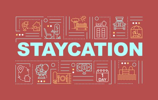 Staycation word concepts banner. Rediscovering hometown. Holistay. Infographics with linear icons on yellow background. Isolated typography. Vector outline RGB color illustration