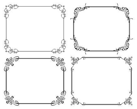 Decorative frames. Retro ornamental frame, vintage rectangle ornaments and ornate border.