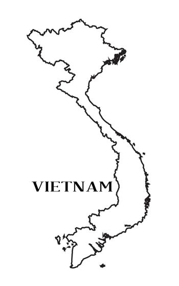 Silhouette outline map of Vietnam isolated over a white background