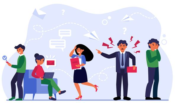 Aggressive leader shouting at scared employees. Angry boss, error, stress at work flat vector illustration. Business, workplace violence concept for banner, website design or landing web page