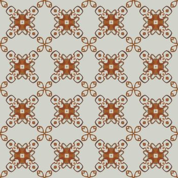 Seamless illustrated pattern made of abstract elements in light gray and shades of brown