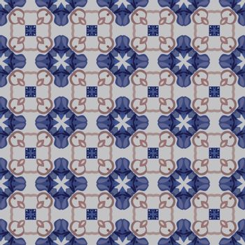 Seamless illustrated pattern made of abstract elements in beige and shades of blue and brown