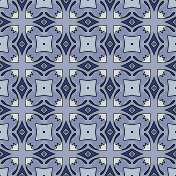 Seamless illustrated pattern made of abstract elements in beige, shades of blue and black