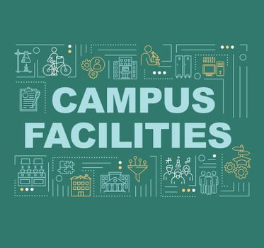 Campus word concepts banner. University infrastructure. College institute. Infographics with linear icons on green background. Isolated typography. Vector outline RGB color illustration