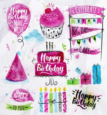 Set of birthday element drawing watercolor on crumpled paper