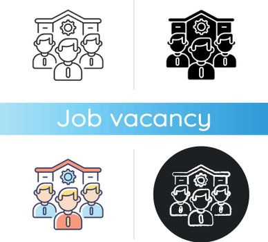 Our company icon. Linear black and RGB color styles. Corporate staff, business office personnel. Professional occupation, recruitment. Colleagues, coworkers team isolated vector illustrations