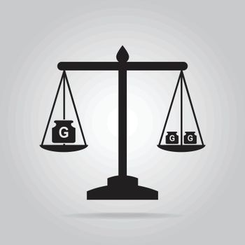 Scale and weight icon, symbol vector illustration