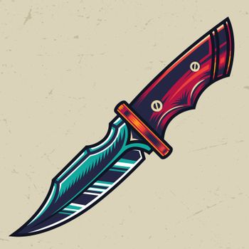 Colorful sharp military knife concept in vintage style isolated vector illustration