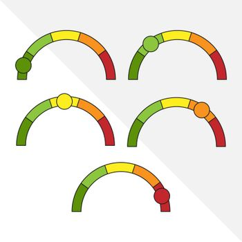 Circular scale with color gradation and engine. An indicator of emotions, feedback, quality, or reviews. Simple flat vector illustration