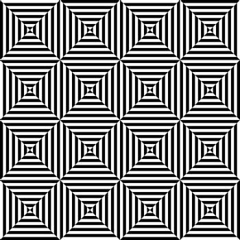 Seamless illustrated pattern made of black and white geometrical elements - optical illusion