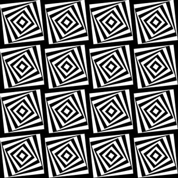 Seamless illustrated pattern made of black andd white squares