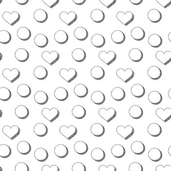 Seamless illustrated pattern made of hearts and circles in black and white