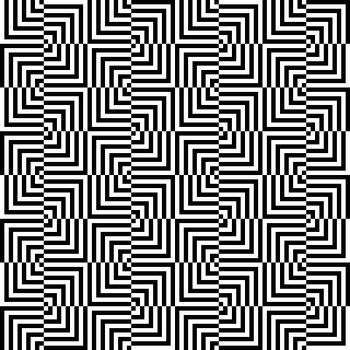 Seamless illustrated pattern made of black and white elements - optical illusion