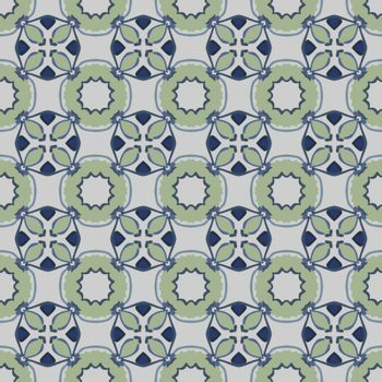 Seamless illustrated pattern made of abstract elements in light gray, green and blue