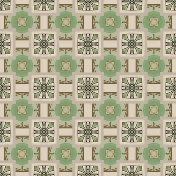 Seamless illustrated pattern made of abstract elements in beige, green, gray, brown and black