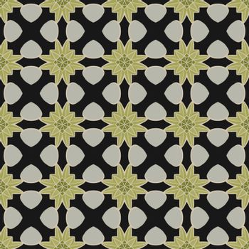 Seamless illustrated pattern made of abstract elements in light gray, light blue, green and black