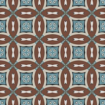 Seamless illustrated pattern made of abstract elements in light gray, beige, turqyoise, brown and black