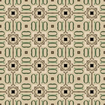 Seamless illustrated pattern made of abstract elements in beige, black, green and brown
