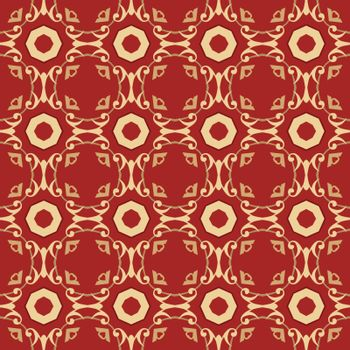 Seamless illustrated pattern made of abstract elements in red and yellow