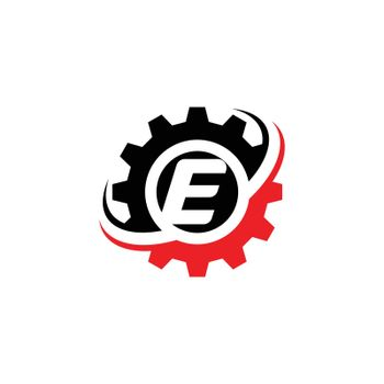Letter E Gear Logo Design Template