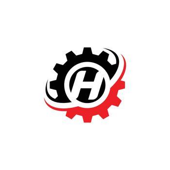 Letter H Gear Logo Design Template