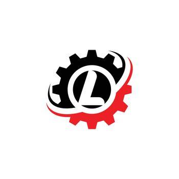 Letter L Gear Logo Design Template