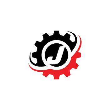 Letter J Gear Logo Design Template