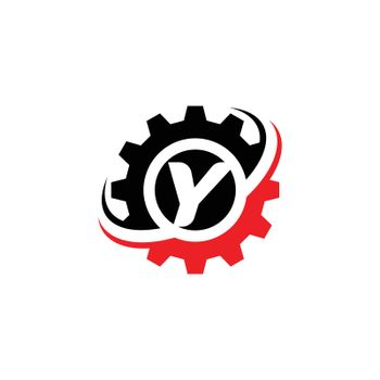 Letter Y Gear Logo Design Template