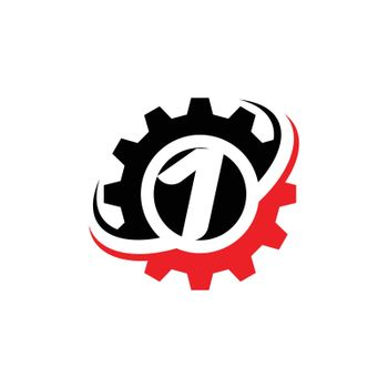 Number 1 Gear Logo Design Template