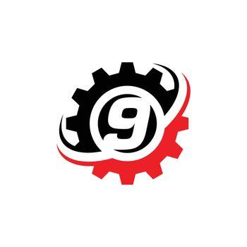 Number 9 Gear Logo Design Template