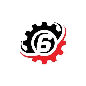 Number 6 Gear Logo Design Template