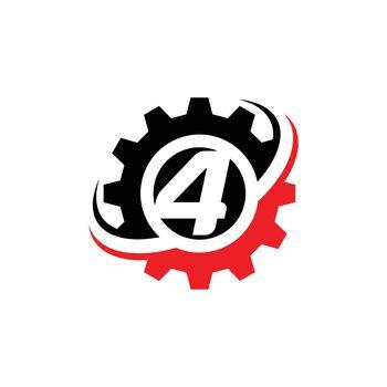 Number 4 Gear Logo Design Template