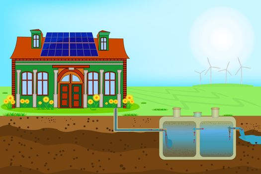 Sustainable eco residential house with blue solar panels on red roof and septic system and drain field scheme. An underground septic tank illustration. Domestic wastewater infographic. Stock vector